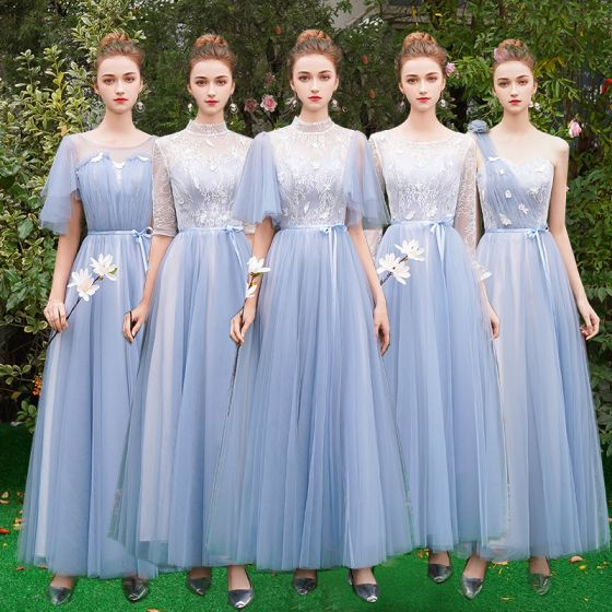 Chic / Beautiful Discount Sky Blue Bridesmaid Dresses 2019 A-Line / Princess Appliques Lace Sash Floor-Length / Long Ruffle Backless Wedding Party Dresses