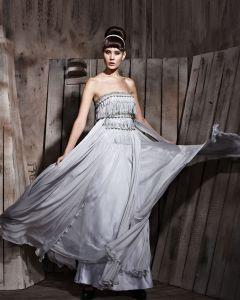 Bodenlange Quasten Sabrina Tencel Charmeuse Sleeveless Abendkleider