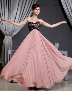 Fashion Chiffon Charmeuse Silk Pleated Sweetheart Court Train Sleeveless Women Evening Dress
