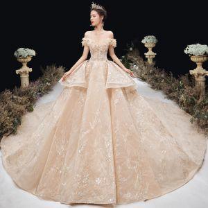 Luxe Champagne Robe De Mariée 2020 Robe Boule De l'épaule Perlage Paillettes Faux Diamant Perle En Dentelle Fleur Manches Courtes Dos Nu Royal Train