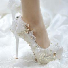 Elegante Ivory / Creme Brautschuhe 2019 Spitze Schleife Kristall Perle 14 cm Stilettos Runde Zeh Hochzeit Pumps