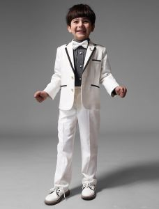 Childrens White Suits, Boys Wedding Suits 4 Sets