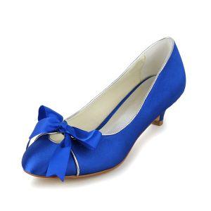 Escarpins Bleu Faible Talon Satin Chics Chaussures De Mariée Avec Noeud