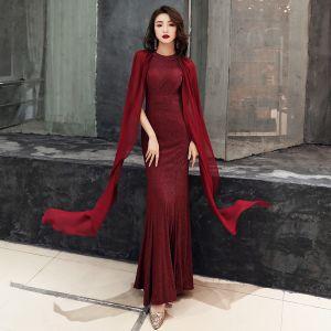 Chic / Beautiful Burgundy Evening Dresses  2019 Trumpet / Mermaid Scoop Neck Glitter Polyester Sleeveless Floor-Length / Long Formal Dresses