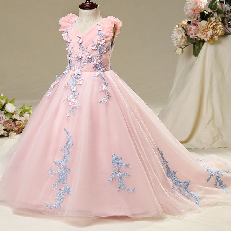 Chic / Beautiful Hall Wedding Party Dresses 2017 Flower Girl Dresses Blushing Pink Ball Gown Chapel Train V-Neck Sleeveless Flower Appliques Pearl