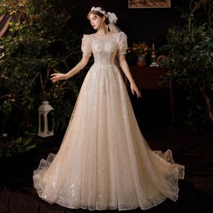 Wiktoriański Styl Szampan Ogród / Outdoor Suknie Ślubne 2020 Princessa Przezroczyste Wycięciem Bufiasta Kótkie Rękawy Bez Pleców Frezowanie Cekiny Trenem Sweep Wzburzyć