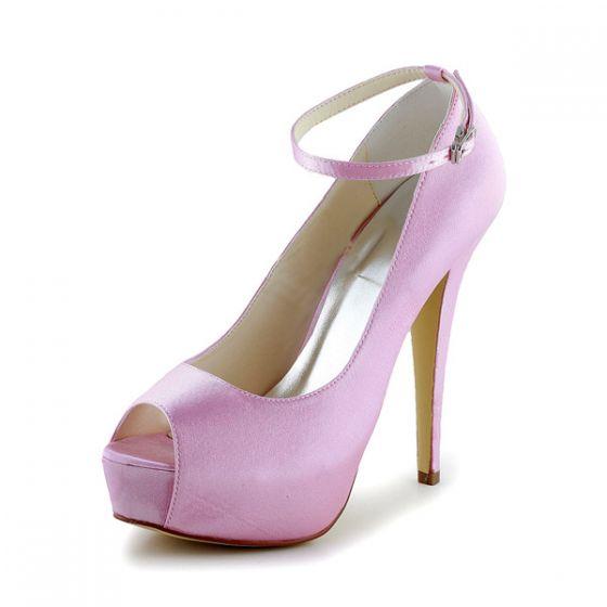 Simple Pink Bridal Shoes Satin Peep Toe Platform Pump With Ankle Strap
