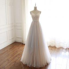 Moderne / Mode Champagne Robe De Bal 2019 Princesse Bretelles Spaghetti V-Cou Perlage Paillettes Sans Manches Dos Nu Noeud Longue Robe De Ceremonie