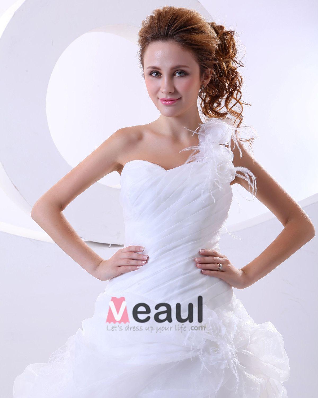 Organza One Shoulder Ruffle Hand Flower Court Bridal Ball Gown Wedding Dress