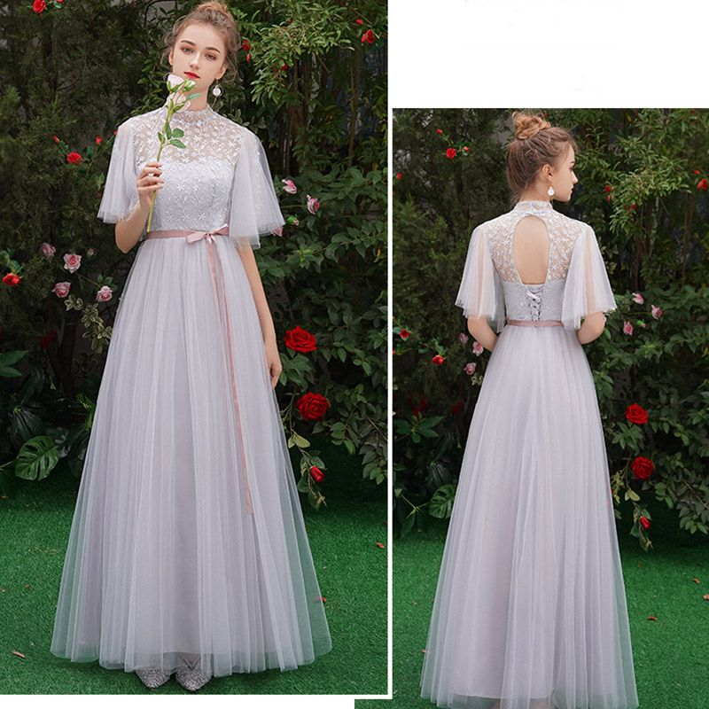 Affordable Grey See-through Bridesmaid Dresses 2019 A-Line / Princess Scoop Neck Sash Appliques Lace Floor-Length / Long Ruffle Backless Wedding Party Dresses
