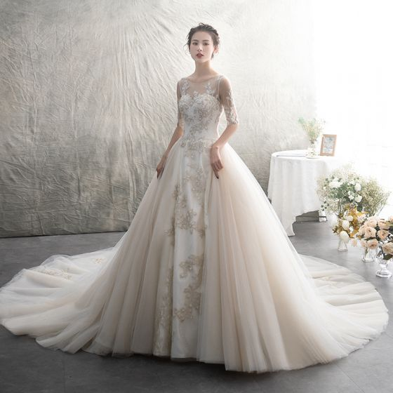 Elegant Champagne See-through Wedding Dresses 2019 A-Line / Princess Scoop Neck 1/2 Sleeves Appliques Lace Beading Cathedral Train Ruffle