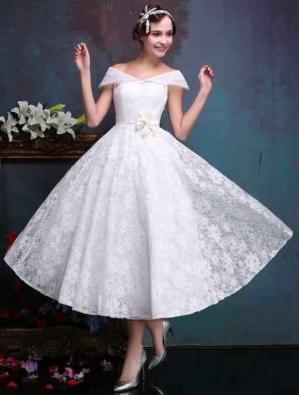 1d21a5c02 Bellos Vestidos De Novia Cortos 2016 Fuera Del Hombro De Encaje Blanco  Vestido De Novia Con ...