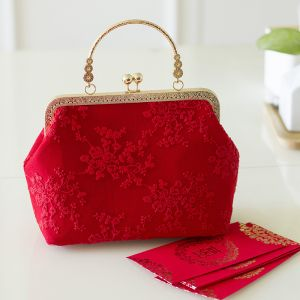Chinese style Red Appliques Lace Clutch Bags 2020
