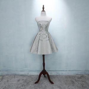 Piękne Srebrny Sukienki Na Studniówke 2018 Princessa Tiulowe Bez Ramiączek Bez Pleców Frezowanie Cekiny Homecoming Sukienki Wizytowe