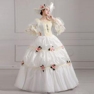 Vintage Ivory / Creme Geschwollenes Ballkleid Ballkleider 2018 U-Ausschnitt Tülle Schnüren 3/4 Ärmel Perlenstickerei Blumen Festliche Kleider