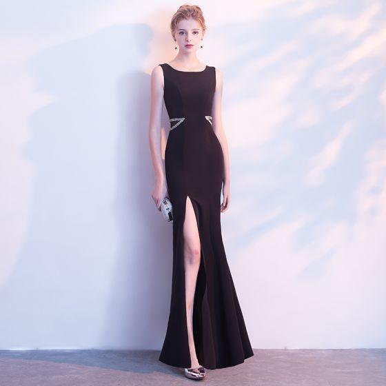 eee737116e Proste   Simple Czarne Sukienki Wieczorowe 2018 Syrena   Rozkloszowane  Cekiny Wycięciem Bez Rękawów Długie Podział Przodu Sukienki Wizytowe