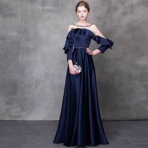 Elegant Navy Blue Evening Dresses  2018 A-Line / Princess Crystal Sash Scoop Neck Backless Long Sleeve Floor-Length / Long Formal Dresses