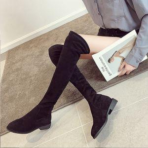 Mode Noire Vêtement de rue Daim Bottes Femme 2020 Talons Épais À Bout Pointu Bottes