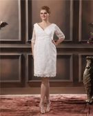 Lace V Neck Three Quarter Sleeve Plus Size Bridal Gown Wedding Dresses