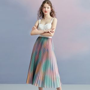 Colored Multi-Colors Summer Homecoming Graduation Dresses 2018 A-Line / Princess Shoulders Sleeveless Tea-length Pleated Backless Formal Dresses