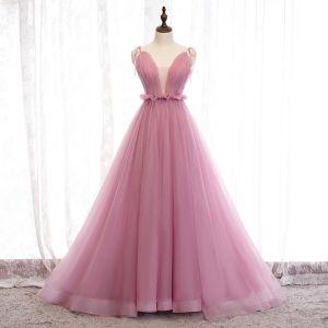 Schöne Pink Abendkleider A Linie 2019 Rüschen Spaghettiträger Schleife Ärmellos Rückenfreies Hof-Schleppe Festliche Kleider