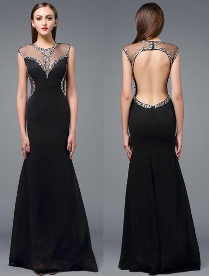 363380145 Hermoso Vestido De Noche 2016 Cristales Sirena Escote Redondo Del  Rhinestone Que Rebordea El Vestido Largo ...
