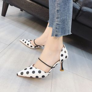 Lovely White Casual Womens Shoes 2018 Striped Spotted 5 cm Stiletto Heels Pointed Toe High Heels