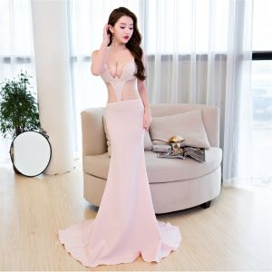 Sexy Formal Dresses 2017 Evening Dresses  Blushing Pink Trumpet / Mermaid Court Train V-Neck Backless Sleeveless Rhinestone