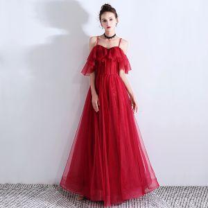 Piękne Burgund Sukienki Wieczorowe 2019 Princessa Spaghetti Pasy Frezowanie Kryształ Bez Rękawów Bez Pleców Długie Wieczorowe Sukienki Wizytowe
