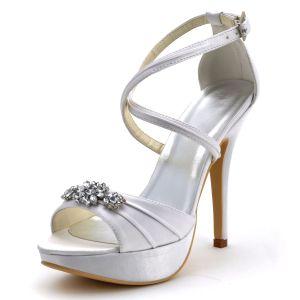 Haut De Gamme A Haute Bandage Avec Des Chaussures Sandales De Chaussures De Soirée De Mariage De Plis De La Chaine De Diamant