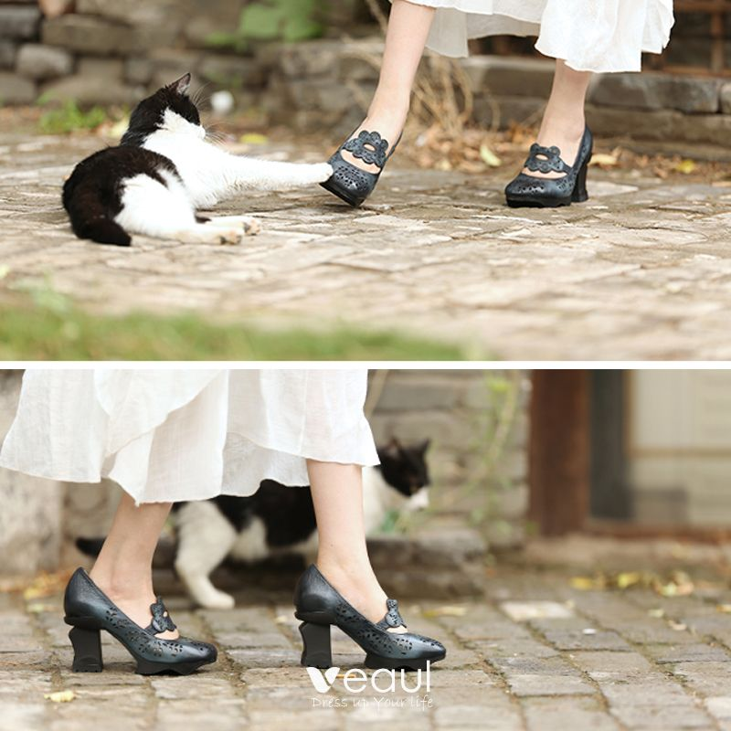 Chic / Beautiful 2017 8 cm / 3 inch Black Ink Blue Casual Outdoor / Garden Leather Summer Pierced High Heels Thick Heels Sandals Womens Sandals