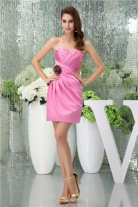 2015 Charming Sheath Sweetheart Strapless Flower Pleated Pink Cocktail Dress