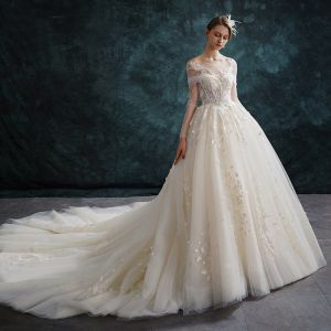 Eleganckie Szampan Suknie Ślubne 2019 Princessa Wycięciem Z Koronki Kwiat Długie Rękawy Bez Pleców Trenem Katedra