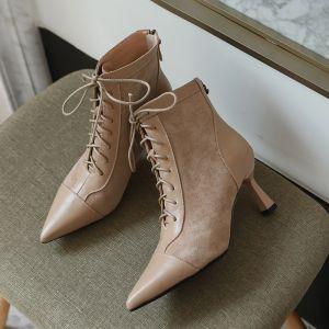 Moda Invierno Beige Ropa de calle Cuero Botas de mujer 2020 7 cm Stilettos / Tacones De Aguja Punta Estrecha Botas