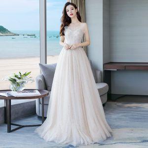 Elegant Champagne Wedding Dresses 2018 A-Line / Princess Beading Lace Flower Sequins Spaghetti Straps Backless Sleeveless Floor-Length / Long Wedding
