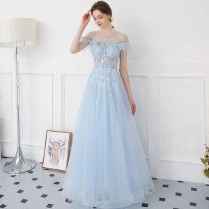 Moderne / Mode Bleu Ciel Robe De Soirée 2018 Princesse Transparentes Encolure Dégagée Manches Courtes Perlage Appliques En Dentelle Perle Plumes Longue Dos Nu Robe De Ceremonie