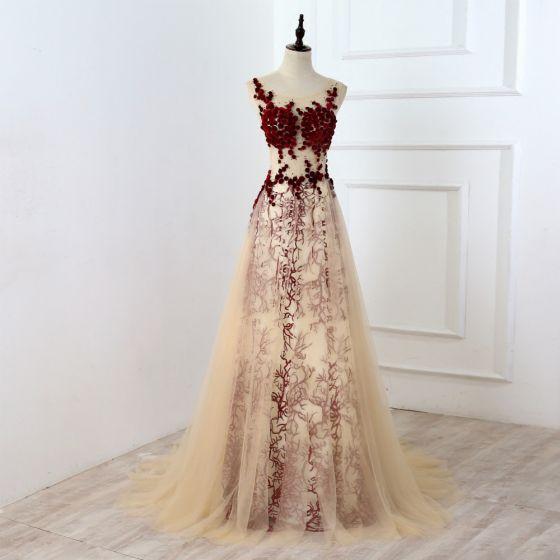 Chic / Beautiful Burgundy Evening Dresses  2017 A-Line / Princess U-Neck Lace Appliques Backless Pierced Rhinestone Handmade  Evening Party Prom Dresses