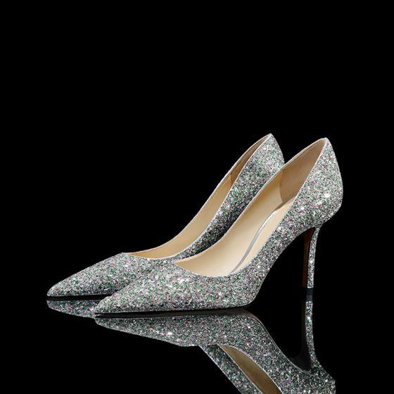 Brillante Plata Lentejuelas Zapatos de novia 2021 Cuero 8 cm Stilettos / Tacones De Aguja Punta Estrecha Boda Tacones High Heels