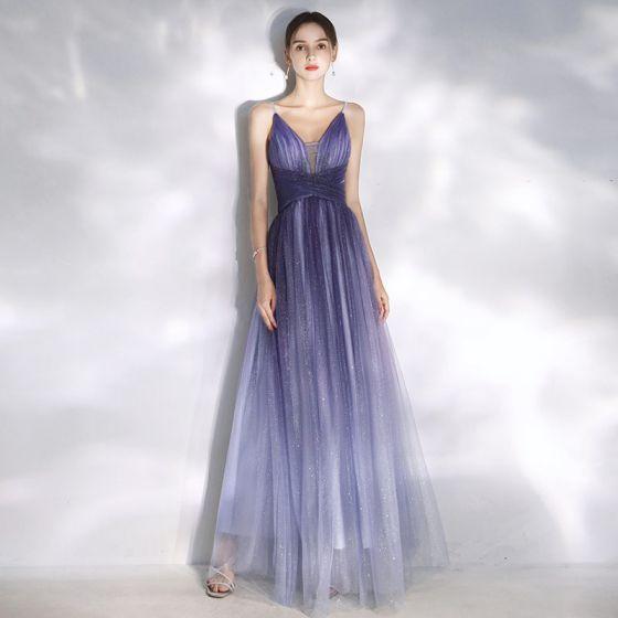 Uroczy Gradient-Kolorów Fioletowe Sukienki Wieczorowe 2020 Princessa Spaghetti Pasy Cekiny Bez Rękawów Bez Pleców Długie Sukienki Wizytowe