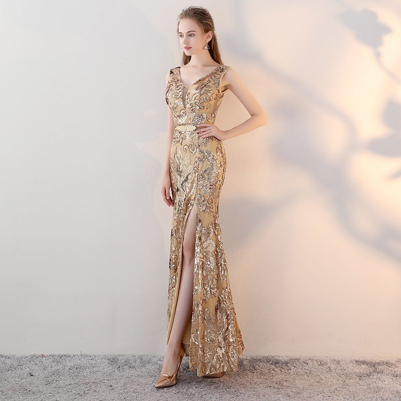 Mode Gold Abendkleider 2017 Mermaid V-Ausschnitt Ärmellos Pailletten Metall Stoffgürtel Gespaltete Front Knöchellänge Rückenfreies Festliche Kleider