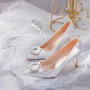 Charmant Argenté Chaussure De Mariée 2019 En Dentelle Perle Faux Diamant 7 cm Talons Aiguilles À Bout Pointu Mariage Escarpins