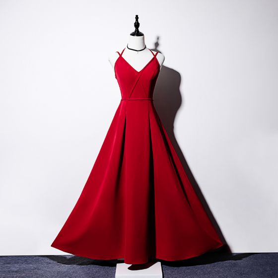Sexy Burgundy Evening Dresses  2019 A-Line / Princess Spaghetti Straps Sleeveless Bow Ankle Length Ruffle Backless Formal Dresses