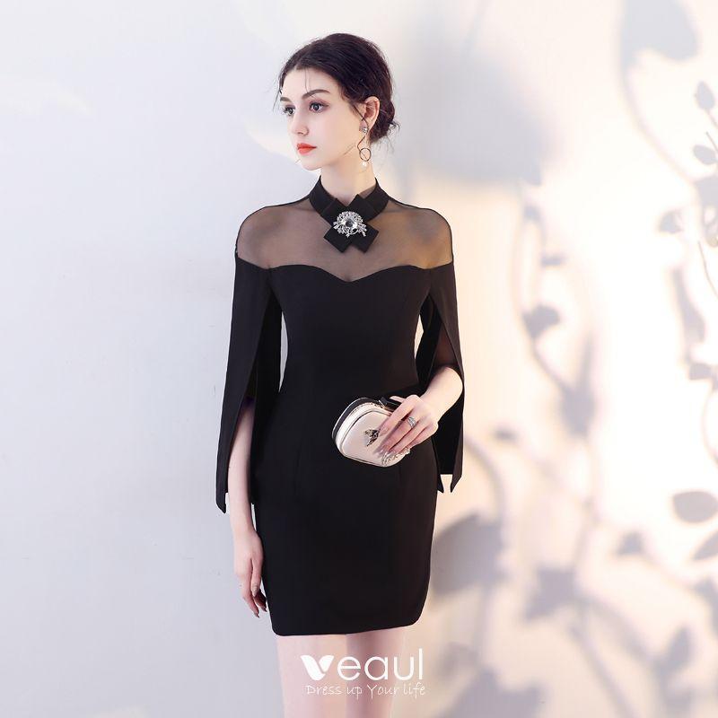 Simple Noire Transparentes Robe De Soiree 2018 Col Haut Unique Manches Longues Courte Robe De Ceremonie