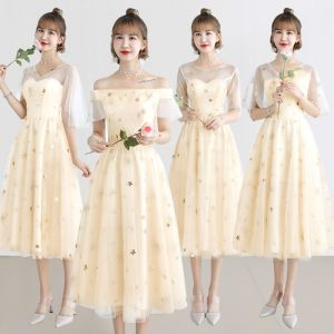 Lovely Champagne See-through Bridesmaid Dresses 2019 A-Line / Princess Appliques Lace Tea-length Ruffle Backless Wedding Party Dresses