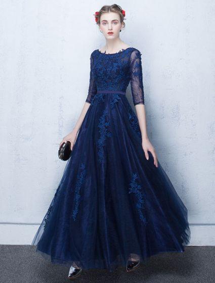 11c50e3491a Vestido De Noche De Encaje Elegante 2017 Vestido Formal Largo Azul Con  Mangas