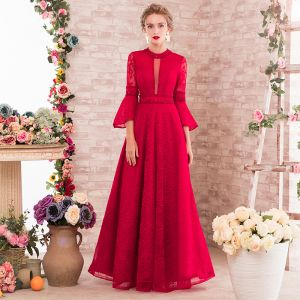 Chic / Beautiful Red Evening Dresses  2017 Empire Beading Scoop Neck Long Sleeve Pearl Crystal Floor-Length / Long Ruffle Backless Formal Dresses