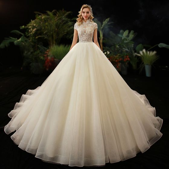 Illusion Champagne See-through Bridal Wedding Dresses 2020 Ball Gown High Neck Short Sleeve Backless Beading Glitter Tulle Cathedral Train
