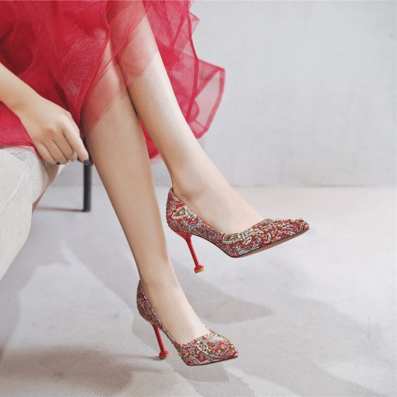 Chinese style Fancy Red Wedding Shoes 2020 Rhinestone Sequins 9 cm Stiletto Heels Pointed Toe Wedding Pumps