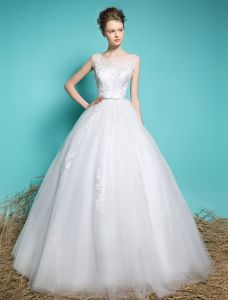 Spring Wedding Dresses 2016 Beautiful Square Neck Applique Lace Backless Ball Gown Bridal Dress