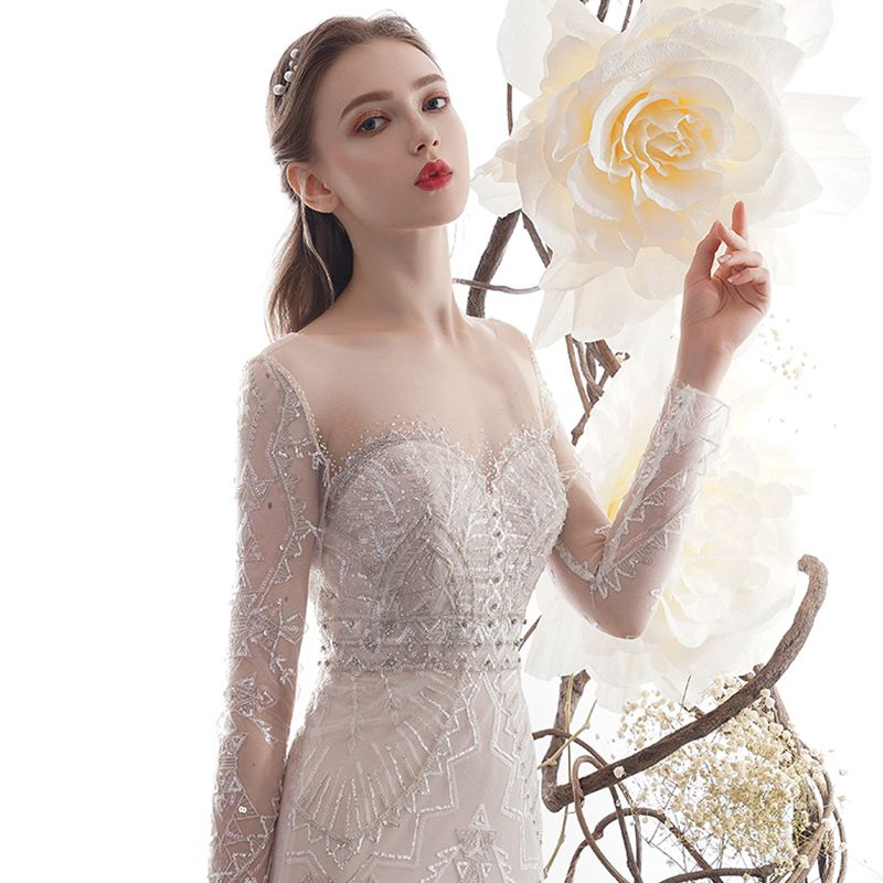 High End Charmant Champagner Durchsichtige Brautkleider / Hochzeitskleider 2019 Meerjungfrau Rundhalsausschnitt Lange Ärmel Rückenfreies Perlenstickerei Abnehmbar Hof-Schleppe